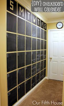 Chalkboard wall, love this idea!! Would use half calendar, and half kids own areas to express themselves/show art work....make it magnetic too :)