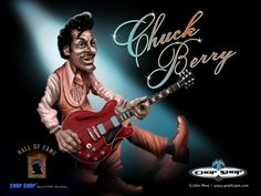 """Charles Edward Anderson """"Chuck"""" Berry (born October is an American guitarist, singer and songwriter, and one of the pioneers of rock and roll music. With songs such as """"Maybellene"""" """"Roll Over Beethoven"""" """"Rock and Roll Music"""" and """"Johnny B. Rock Roll, Rock N Roll Music, Pop Art, Best Guitar Players, Star Wars, Blue Poster, Chuck Berry, People Of Interest, Making Faces"""