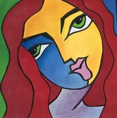 visage 2  facile et simple d'une femme aux marqueurs à alcool (promarker)