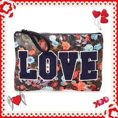 VARSITY CLUTCH A LOVE VARSITY CLUTCH...BY BCBGENTERATION ..NWT..MATERIAL BLACK FLORAL PRINT AND NAVY FELT...EXTERIOR DESIGN BLACK-TONE HARWARE, EMBROIDERE LETTERING..INTERIOR DESIGNS: FABRIC LINING , ZIPPERED POCKET...MEASURES 13in WIDE X 9in HIGH X 1.5in DEEP..WISTLET DROPS 5in DEEP...ZIPPERED TOP. BCBGeneration Bags Clutches & Wristlets