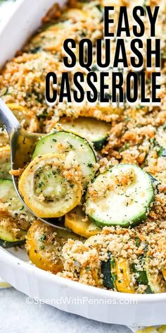 This easy yellow squash casserole is the perfect way to use the abundance of summer squash available! Made with yellow squash, zucchini, onions, and a buttery cheesy breadcrumb topping, this casserole is baked until browned and crisp. #spendwithpennies #squashcasserole #summersquash #zucchinicasserole #zucchinirecipe #squashrecipe