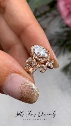 Unique Victorian Moissanite engagement ring, ct Oval Moissanite Diamond Halo vine Floral Wedding jewelry Paired with Ariana Wedding Ring Wedding Rings Vintage, Vintage Engagement Rings, Wedding Jewelry, Opal Engagement Rings, Vine Wedding Ring, Vintage Anniversary Rings, Opal Wedding Rings, Floral Engagement Ring, Wedding Ring Designs