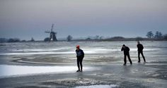Although this board primarily focuses on Amsterdam, I could not resist pinning this photograph. Two fanatic skaters, Leo Shelters (74, in the middle) and Herman van der Geest (48, left) make their first round on natural ice in Ryptsjerkster Polder in Friesland. © ANP #iceskating
