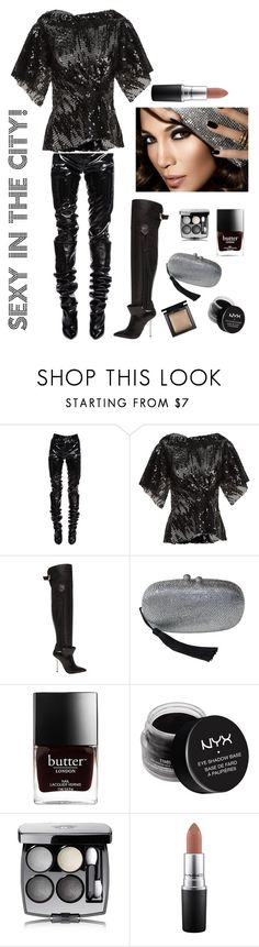 """Sexy in the CITY"" by kotnourka ❤ liked on Polyvore featuring Yves Saint Laurent, Talbot Runhof, Versace, Jennifer Lopez, NYX, Chanel, MAC Cosmetics and Bare Escentuals"