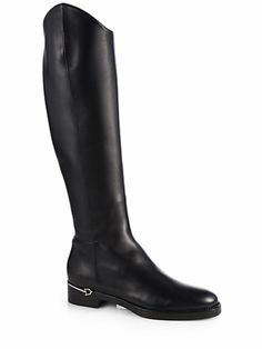 Gucci Elizabeth Flat Leather Boots in Black Gucci Boots, Gucci Gucci, Knee High Boots, High Heels, Simple Shoes, Leather Lace Up Boots, Stylish Boots, Beautiful Shoes, Rubber Rain Boots