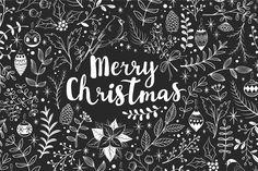 Merry Christmas chalkboard set by LeraXendzova on @creativemarket