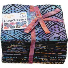 """The Batik Man-Java Origins 18""""X21"""" Fat Quarters 14pcs-Black-14pcs"""