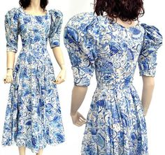 Vintage 1980s Droopy & Browns Blue Victorian Style by DillyDandy