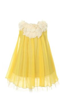 Kid's Dream Girl's Lovely Silk Chiffon Girl Dress (Yellow)