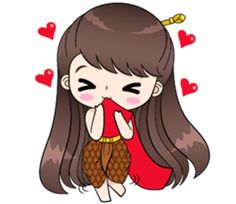 Boobib in traditional thai girl style. She is lovely, funny and cute. Let's her make your chat full of fun. Cute Couple Cartoon, Retro Girls, Line Sticker, Cute Gif, Disney Pictures, Cute Couples, Girl Fashion, Geek Stuff, Stickers