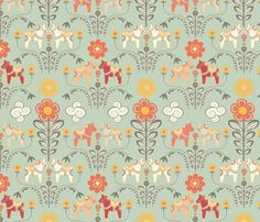 dala_horse_paste_multico vert_M fabric by nadja_petremand on Spoonflower - custom fabric