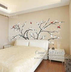 tree wall decals birds vinyl wall decals cherry blossom wall decals nature wall stickers nursery children- white flower tree with red birds by cuma Nursery Wall Stickers, Vinyl Wall Decals, Bedroom Wall, Bedroom Decor, Wall Decor, White Cherry Blossom, Cherry Tree, White Cherries, Tree Wall