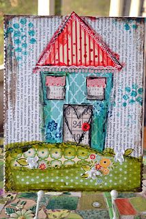 Tutorial on how to create this house on Canvas using mixed media products