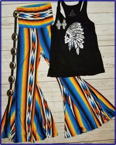 Cowgirl Gypsy AZTEC Bells Pants NATIVE Festival BELL BOTTOMS 70s fashion LARGE #JUptown #leggings