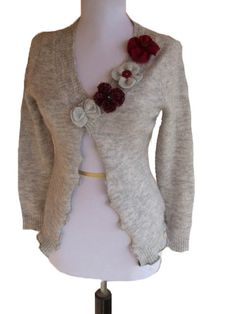 Floral Cardigan Sweater S by RebeccasArtCloset on Etsy
