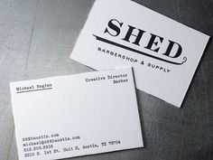 Shed Barbershop Letterpress Business Cards | Workhorse Printmakers | Houston