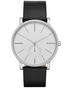 Skagen Men's Chronograph Hagen Black Leather Strap Watch 40mm SKW6274