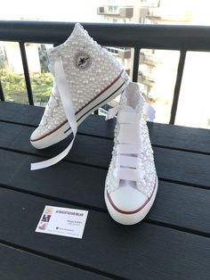 Very stylish and comfortable shoes with pearlsYou can choose your wedding dress or dailyPlease send a message for your inquiries Wedge Heel Sneakers, Lace Sneakers, Sneaker Heels, Converse Wedding Shoes, Wedding Heels, Converse Shoes, Pearl Shoes, Bling Shoes, Women's Shoes