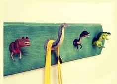 Hilarious Ways to Upcycle Plastic Dinosaurs - dinosaur bathroom idea Creative Coat Hooks DIY – Home & Family - Diy Haken, Brisbane Kids, Diy Hooks, Towel Hooks, Wall Hooks, Deco Kids, Creation Deco, Boy Room, Diy For Kids