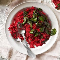Make use of the whole beetroot, including the leaves, with this bright basmati rice recipe.