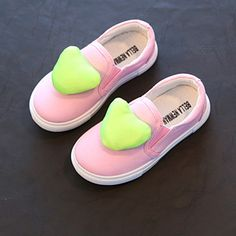 Kale Pink Slip-On Shoes With Green Heart Applique Bellies #GreenAnd PinkBellies #KIdsfashion