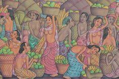 """Balinese Traditional Painting Village Life handmade Ubud Acrylic art signed 52"""" #Expressionism Bali Fashion, Traditional Paintings, Balinese, Ubud, Acrylic Art, Bali Style, Handmade, Expressionism, Image"""