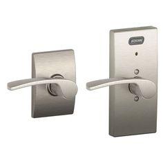 Schlage FE10 MER 619 CEN Built-in Alarm, Century Collection Merano Hall and Closet Lever Door Lock, Satin Nickel Schlage Lock Company