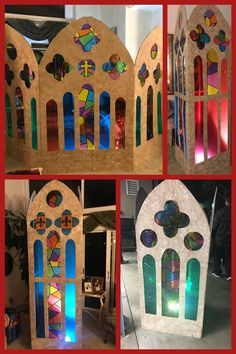 Faux stained glass window DIY, cardboard stained glass window, Sister Act Set Faux stained glass win Stained Glass Angel, Faux Stained Glass, Stained Glass Windows, Fused Glass, Medieval Stained Glass, Window Glass, Medieval Crafts, Medieval Party, Broken Glass Art