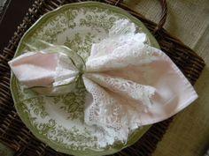 vintage napkin fold with lace
