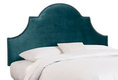 Hedren Headboard, Peacock on OneKingsLane.com  Mom - can you put this with a different frame - like the white one with the drawers from West Elm?