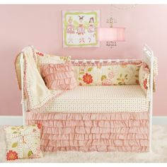 Rose Garden Crib Bedding Set. Love the cream and pink- and the ruffles.