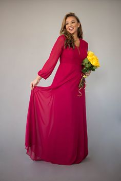 The long-sleeved Vivian Dress is graceful & timeless and will fit right into any bridal party. Berry Bridesmaid Dresses, Affordable Bridesmaid Dresses, Fabric Swatches, Chiffon Dress, Gowns, Bridal, Lady, Long Sleeve, Model