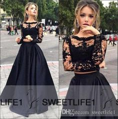 Popular Two Pieces Cheap Black Lace And Satin Prom Dresses 2016 A Line Sheer Crew Neck Long Sleeves Appliques Floor Length Evening Gowns Modern Prom Dresses Prom Dress Designs From Sweetlife1, $113.21| Dhgate.Com