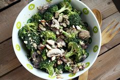 Creamy Vegan Broccoli Salad with Mushrooms and Almonds