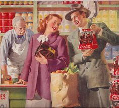1948 Ad Coca Cola (Whoa! The dude has tweezed his eyebrows as much, if not more than the lady in the purple coat...although they do seem to be sharing the same shade if lipstick!) :P