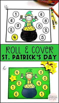 This St. Patrick's Day roll and cover is a fun way to practice number recognition and fine motor skills. It is also a fun way to practice basic turn-taking. Use this open ended game paired with drill work during speech therapy sessions. This game can be used in preschool centers, special education classrooms and during OT sessions. Ideal for use with preschool, kindergarten and early elementary students. This can be used as worksheets and a game. East to carry in your therapy bag!