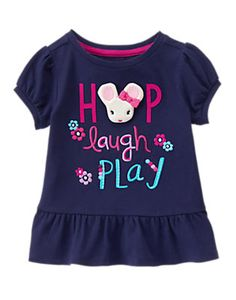 Toddler Girls Gym Navy Mouse Peplum Tee by Gymboree. Toddler Outfits, Kids Outfits, T Shirt Painting, Frocks For Girls, Little Fashionista, Cute Designs, Kids Wear, Shirts For Girls, Toddler Girl