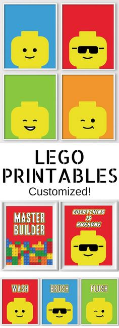 Lego Printables for nursery, kids room, bathroom! Can customize colors! #Lego #printables #ad #kids #etsy