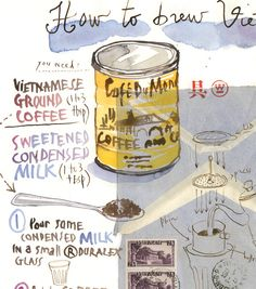 Vietnamese coffee recipe Archival giclee reproduction print from original watercolor illustration painted on vintage vietnamese envelope. Signed with pencil. Format : Horizontal Printed on fine art ""
