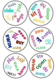 Choose a circle and write an email to a friend using all the words in that circle. English Verbs, English Fun, English Lessons, English Class, Verb Games, Vocabulary Activities, Education English, Teaching English, Taboo Cards