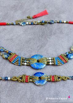 Macramé lapis lazuli corail rouge boho bohème ethnique chic kaki bronze bleu cobalt pompon bracelet