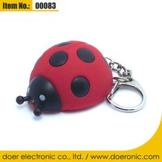Ladybird Ladybug Sound LED Keychain Light Torch | Doer Electronic the Animals Novelty Gadgets Supplier from China, Welcome to the World of Animals Fun.