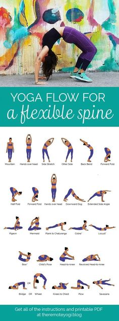 Yoga Flow for a Flexible, Bendy Spine - FREE PDF Print out this yoga flow and do it at home to promote a healthy spine and increase mobility. This one is challenging and sure to get the body fired up! #YogaforFlexibility #SpineHealth