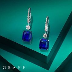 Electric Earrings The precise cut and striking deep blue colour of two rare sapphires weighing over 12 carats are perfectly displayed as magnificently elegant earrings. Graff Jewelry, Sapphire Jewelry, Sapphire Earrings, Luxury Jewelry, Modern Jewelry, Diamond Jewelry, Gold Jewelry, Fine Jewelry, Jewellery