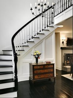 Staircase Black Floor Design, Pictures, Remodel, Decor and Ideas for my stairs and second floor Black And White Stairs, White Staircase, Staircase Design, Black Railing, White Walls, Grand Staircase, Black White, Curved Staircase, Stair Design