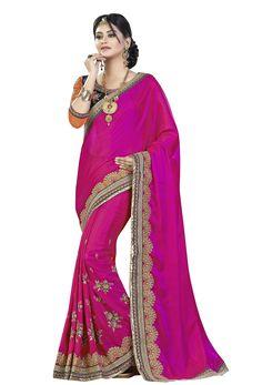 Pink Georgette Designer Saree #borderwork #georgette #silk #embroidery #Trendy #sari #saree #WomenClothing #WomenWear #Designersari #stylishsari #nikvik #usa #designer #australia #canada #malaysia #UAE #freeshipping  Sign up and get USD100 worth vouchers.Price-US$62.25