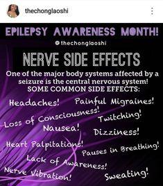 Nerve Side Effects Seizure Symptoms, Epilepsy Seizure, Epilepsy Facts, Epilepsy Awareness Month, Temporal Lobe Epilepsy, Seizure Disorder, Medical Surgical Nursing, Seizures, Medical Information