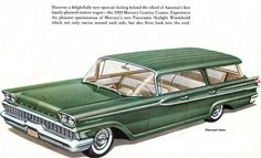 1959 Mercury Commuter Cruiser 4 Door Hardtop Station Wagon. That windshield must've been a nightmare to replace if damaged.
