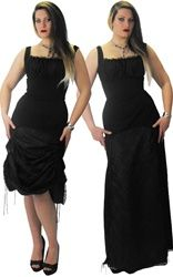 Necessary Evil Long Lace Dress with Adjustable Skirt and Corset Style Back