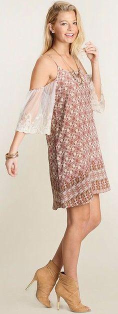 #Unique_Boho_Style Umgee Lace Sleeve Cold Shoulder Dress * Boho Chic * Sheer Geometric Shift A2179